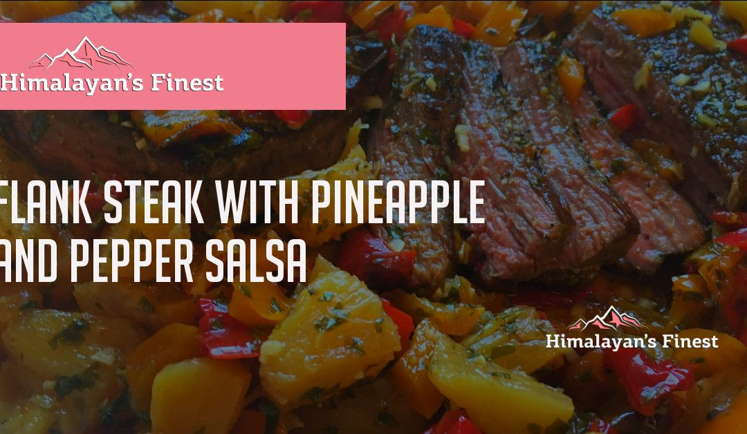 Flank Steak with Pineapple and pepper salsa